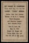 1952 Berk Ross  Yogi Berra  Back Thumbnail
