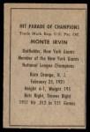1952 Berk Ross  Monte Irvin  Back Thumbnail