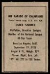 1952 Berk Ross  Duke Snider  Back Thumbnail