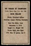 1952 Berk Ross  Bob Feller  Back Thumbnail