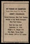 1952 Berk Ross  Jerry Coleman  Back Thumbnail