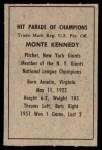 1952 Berk Ross  Monte Kennedy  Back Thumbnail