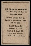 1952 Berk Ross  Nellie Fox  Back Thumbnail