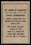 1952 Berk Ross  Chico Carrasquel  Back Thumbnail