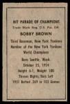 1952 Berk Ross  Bobby Brown  Back Thumbnail