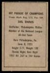 1952 Berk Ross  Del Ennis  Back Thumbnail