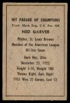 1952 Berk Ross  Ned Garver  Back Thumbnail