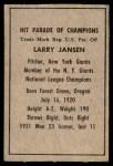 1952 Berk Ross  Larry Jansen  Back Thumbnail