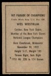 1952 Berk Ross  Wes Westrum  Back Thumbnail