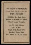 1952 Berk Ross  Don Mueller  Back Thumbnail