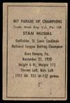 1952 Berk Ross  Stan Musial  Back Thumbnail