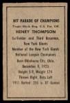 1952 Berk Ross  Hank Thompson  Back Thumbnail