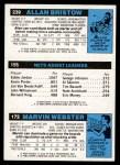 1980 Topps   -  Marvin Webster / Eddie Jordan / Allan Bristow 172 / 155 / 239 Back Thumbnail