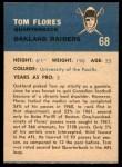 1962 Fleer #68  Tom Flores  Back Thumbnail