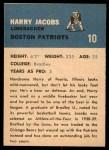 1962 Fleer #10  Harry Jacobs  Back Thumbnail