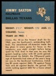 1962 Fleer #26  Jimmy Saxton  Back Thumbnail