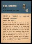 1962 Fleer #49  Bill Groman  Back Thumbnail