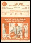1963 Topps #33  Yale Lary  Back Thumbnail