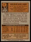 1978 Topps #4  Wilbur Holland  Back Thumbnail