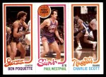 1980 Topps   -  Ben Poquette / Paul Westphal / Charlie Scott 241 / 188 / 77 Front Thumbnail