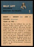 1962 Fleer #1  Billy Lott  Back Thumbnail