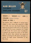 1962 Fleer #67  Alan Miller  Back Thumbnail