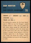 1962 Fleer #78  Don Norton  Back Thumbnail