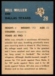 1962 Fleer #28  Bill Miller  Back Thumbnail