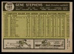 1961 Topps #102  Gene Stephens  Back Thumbnail