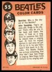 1964 Topps Beatles Color #55   Beatles performing Back Thumbnail