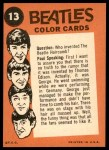1964 Topps Beatles Color #13   John and Paul Back Thumbnail