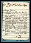 1964 Topps Beatles Diary #55 A John Lennon  Back Thumbnail