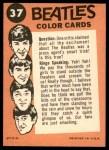 1964 Topps Beatles Color #37   John, Paul and George perfoming Back Thumbnail
