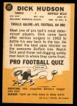1967 Topps #22  Dick Hudson  Back Thumbnail