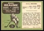 1970 Topps #119  Marc Reaume  Back Thumbnail