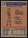 1972 Topps #252   -  Donnie Freeman  ABA All-Star - 1st Team Back Thumbnail
