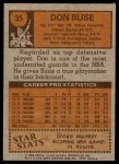 1978 Topps #35  Don Buse  Back Thumbnail