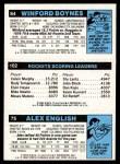 1980 Topps   -  Alex English / Moses Malone / Winford Boynes 75 / 102 / 64 Back Thumbnail