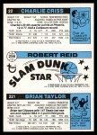 1980 Topps   -  Brian Taylor / Robert Reid / Charlie Criss 221 / 256 / 22 Back Thumbnail