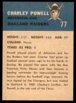 1962 Fleer #77  Charley Powell  Back Thumbnail