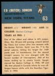 1962 Fleer #63  Butch Songin  Back Thumbnail