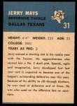 1962 Fleer #31  Jerry Mays  Back Thumbnail