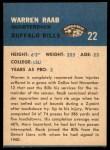 1962 Fleer #22  Warren Raab  Back Thumbnail