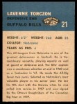 1962 Fleer #21  Laverne Torczon  Back Thumbnail