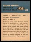 1962 Fleer #20  Archie Matsos  Back Thumbnail