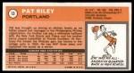 1970 Topps #13  Pat Riley   Back Thumbnail