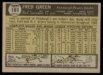 1961 Topps #181  Fred Green  Back Thumbnail
