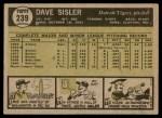 1961 Topps #239  Dave Sisler  Back Thumbnail