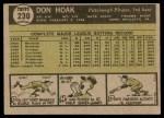 1961 Topps #230  Don Hoak  Back Thumbnail