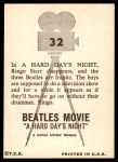 1964 Topps Beatles Movie #32   Ringo Disappears Back Thumbnail